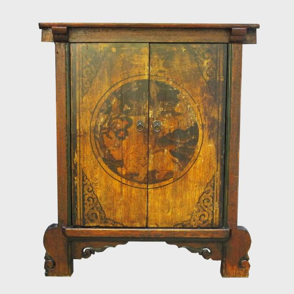 Chinese Antique Brown Cabinet Decorated with Yellow Pattern w/Shlef - Chinese Antique Brown Cabinet Decorated With Yellow Pattern W/Shlef